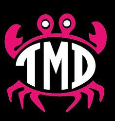 Preppy Crab Monogram Car Decal