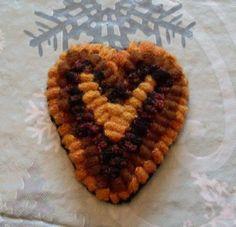 Primitive Folkart Hooked Heart Brooch $19.95