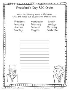 Free President's Day theme words in alphabetical order