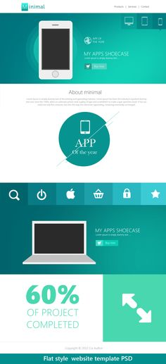 Flat Style Website Template PSD for Free Download - #freebie #design #psd #photoshop #webdesign