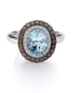 Le Vian Sea Blue Aquamarine and Chocolate Diamond® Ring in 14 Kt. White Gold