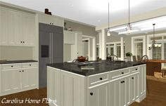 This large open layout house plan features a spacious open kitchen with large island prep counter