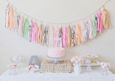 Pretty Pastel Baby Shower- i want to make the little streamer thing for the nursery! cute colors!