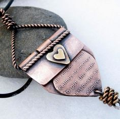 ***This pin is now closed; a winner has been selected for this round***  Copper and Brass Love Pendant Necklace