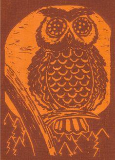 woodblock print owls image - Google Search