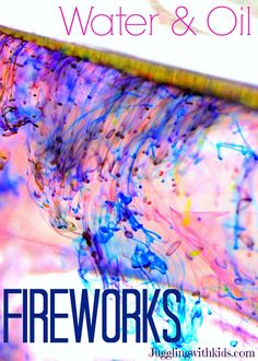 Check out our Water & Oil Fireworks...it's a great activity to do with 4th of July right around the corner.  And I'm betting you have all the supplies you need to try it out right now! :-)  Don't miss out on the fun and go do this with your kids!  Jugglingwithkids.com