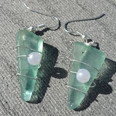 Sea Foam Green Earrings by conservanSEA on Etsy, $12.00