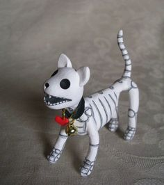 mini Day of the Dead skeleton cat