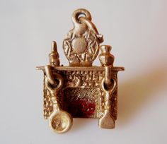 Gold Fireplace Enamel Charm
