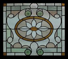 Stained Glass Window English Victorian Rondel Huge Amazing Original Sash Frame