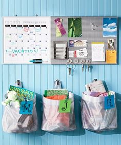 kids book organization, command center, bag, around the house, cheap house ideas, famili command, organization for a small house