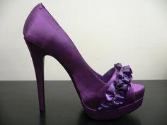Bridesmaid purple high heels