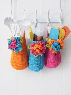 Bouquet Baskets | Yarn | Free Knitting Patterns | Crochet Patterns | Yarnspirations