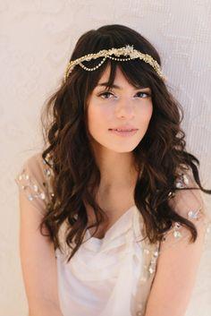Zephyr Bridal Headband, Russian Veil, Rhinestone Chain, Bohemian Bridal Hair Piece, Wedding Headpiece, Ships in 1 Month. $158.00, via Etsy.