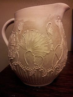 ginkgo inspir, textur pottery2, flower pitcher