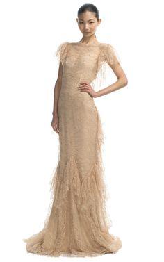 Shop Marchesa Ruffle Sleeve Lace Gown at Moda Operandi