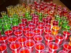 All kinds of drink jello shots recipes. Sex on the beach, rum and coke, lemon drops, etc. -- YUMMM!