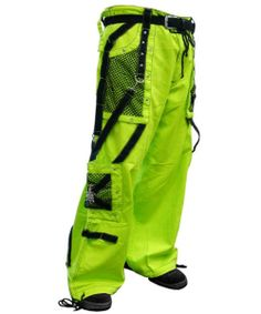 Wide leg and fully loaded these pants will make you stand out of the crowd with it's radioactive green color and crisp black mesh accents. These Tripp pants have it all expandable wide legs can be adjusted for a customizable fit straps chains over sized cargo pockets huge rear pockets and accent skull studs make these pants extraordinary.