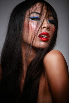 blue liner, red lips
