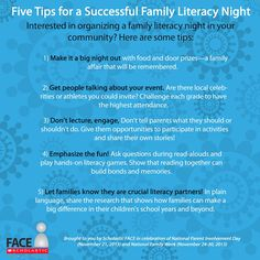 Here are five tips for a successful Family Literacy Night. #family #families #literacy #reading
