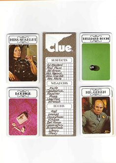 Vintage 1970's Clue Game Cards & Clues List by ValinthePaperValley