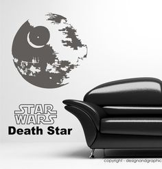 Star wars death star vinyl wall decal by circlewallart on Etsy, £14.99