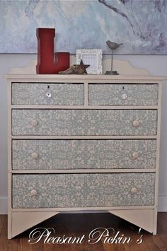 Duck Egg Blue & Old Ochre Stenciled Dresser  from Pleasant Pickins   #chalkpaint