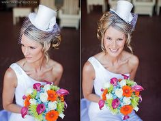 Wedding bridal top hat with birdcage veil mini top by TwoBackFlats