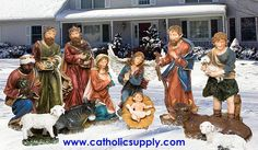 """29"""" Full Color Resin Figures  OUR EXCLUSIVE!  13 piece Nativity Figure Set  29"""" painted resin figures with removable Jesus!  We traveled the globe to find this set and are proud to be able to offer it at such a remarkable price! Beautiful for indoor or outdoor use! (Item #53392) $1,495.00  SALE! NOW $795.00"""