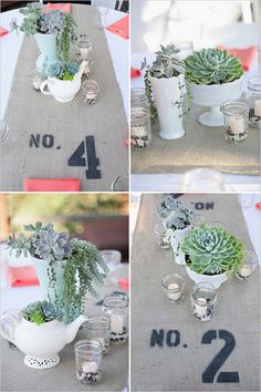 In love with these succulent centerpieces and table numbers on the runners!