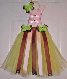 Custom pink/brown/green tutu hair bow holder!