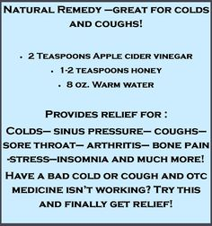 Natural Remedy for Colds, Coughs and more!
