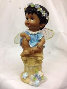 "African American Boy Angel Christening Birthday Figurine Cake top 8 1/2"" H 