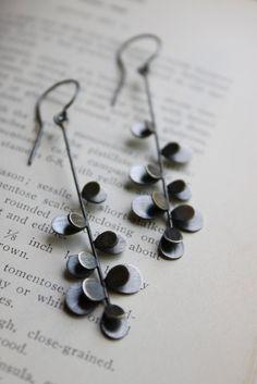 Prickly Stem Earrings oxidized. $148.00, via Etsy.