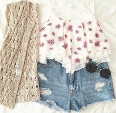 floral . shorts .. cool glasses . coverup