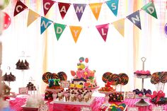 Candy Land Game Dessert Table.
