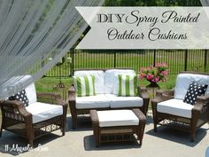 """DIY, painted fabric to update a """"dated"""" patio set."""