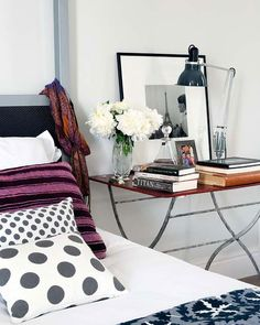 Polka dot pillows on the bed.  #onekingslane and #designisneverdone