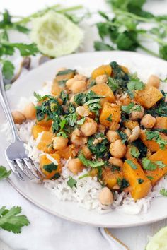 This spicy, healthy, vegan stew is packed full of butternut squash, chickpeas, spinach, and warm moroccan flavors. It's healthy, hearty, and gluten-free. Make in bulk and freeze the extra!