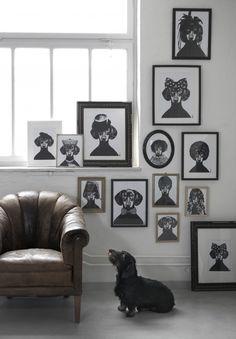 chair, dachshund decor, art frames, dog lovers, family portraits, dachshunds, dog portraits, dog themed art, dog art