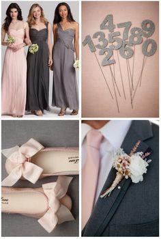 wedding pink and gray, gray and light pink wedding, pink gray wedding, winter bridesmaids dress, light pink and gray wedding