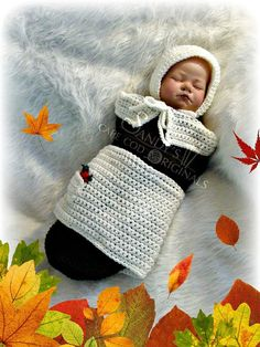 Pilgrim Baby Girl Cocoon and Bonnet Crochet by SandysCapeCodOrig