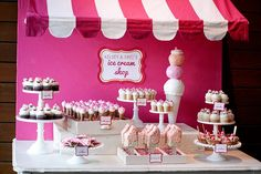 Ice Cream Shoppe Wedding Dessert Table ice cream party, birthday parties, ice cream theme, wedding desserts, 1st birthday, wedding dessert tables, ice cream bars, parti idea, cream shop