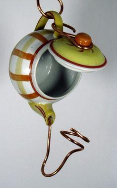 Teapot Birdhouse- Ceramic Teapot Birdfeeder- Recycled Teapot Birdhouse or Birdfeeder by passingtimeandchimes On Etsy