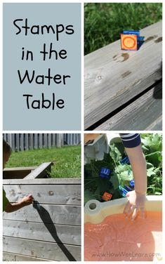 Water table activities and sensory table ideas can be so easy to set up!  This preschool idea uses water and stamps and is wonderful for exploring literacy, story telling, and so much more! www.HowWeeLearn.com