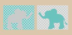 Nursery Wall Art- Kids Wall Decor- Prints for Nursery-Elephant Reflection- Gray and Teal. $25.00, via Etsy.