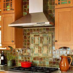 love this backsplash - green tiles