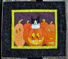 Pumpkin Patch Cat by Jennifer Ball at The Quilted Cat