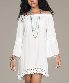 White Bell-Sleeve Off-Shoulder Tunic