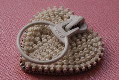 White Vintage Zipper Lapel Pin and Eyeglass Holder